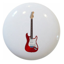 Carolina Hardware and Decor, LLC - Red Guitar Ceramic Cabinet Drawer Knob - 1 1/2 inch white ceramic knob with one inch mounting hardware included.  Great as a cabinet, drawer, or furniture knob.  Adds a nice finishing touch to any room!