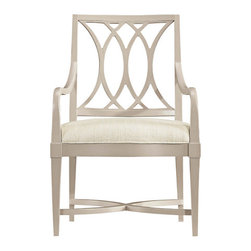 Stanley-Coastal Living - Heritage Coast Arm Chair - Whether used at the head of a table or behind a desk, The Heritage Coast Armchair, by Stanley Coastal Living, provides your guests with a comfortable seat and your space with incredible style. Inspired by the swells of the ocean, the back's interlocking curves give this dining chair a soothing romantic feel. The gently curved arms, hardwood solids, grained white oak veneer, and subtle dune finish allow this dining chair to blend beautifully with any decor.