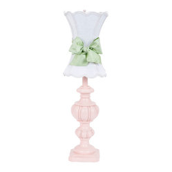 Large Urn Lamp in Pink with White Scallop Hourglass Shade and Modern Green Sash
