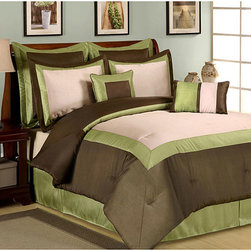 None - Hotel Green 8-piece Comforter Set - Update your bedroom with this elegant green eight-piece comforter set. This bedding has a crisp border pattern to match many types of decor. It offers a fully equipped set of bedding that is machine washable,so it is easy to take care of.