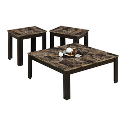 Monarch Specialties - Monarch Specialties Cappuccino & Marble-Look Top 3 Piece Square Table Set - Make a statement in your living room with a three piece occasional table set that's sure to take center stage. This versatile accent table group includes a square coffee table and two matching end tables that make a stylish addition to casual or contemporary decor. Marble-look surfaces draw the eye with their muted shades of cream, onyx and gray and provide a durable yet beautiful surface for placing drinks and decorative accents. A sophisticated cappuccino finish, wraps the base of the coffee and end tables.