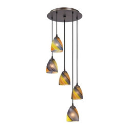 Design Classics Lighting - Modern Multi-Light Pendant Light with Art Glass and 5-Lights - 580-220 GL1015MB - Contemporary / modern neuvelle bronze 5-light mini-pendant light. Includes one bronze three-port ceiling canopy. Each mini-pendant comes with 7-feet of black cuttable cord that allows for custom height adjustability for each pendant. Takes (5) 100-watt incandescent A19 bulb(s). Bulb(s) sold separately. UL listed. Dry location rated.