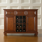 Crosley - Cambridge Sideboard / Buffet - Features: -Cambridge collection. -Constructed of solid hardwood and veneer. -Three deep drawers. -Raised panel doors. -Center storage area can hold up to 12 wine bottles. -Removable wine storage panels for additional open storage. -Adjustable shelf behind each door. -Adjustable levelers in legs. -ISTA 3A certified. -Manufacturer provides a 3 month warranty against defects in material and workmanship.