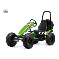 Berg USA - Berg USA X-plorer X-treme Pedal Go Kart - 03.80.43.00 - Shop for Tricycles and Riding Toys from Hayneedle.com! Every road rally in the Berg USA X-plorer X-treme Riding Toy is going to be epic even if it's just to the bus stop around the cul-de-sac and past the scary dog of the old guy who lives down the street. No matter how extreme the terrain might be this rugged pedal toy is up to the challenge. Air-filled tires with knobby outdoor tread are going to conquer any terrain and the metal frame will support the adjustable and molded foam seat through all those bumps. The two-direction pedals can go in forward or reverse or just coast as they leave the neighborhood kids behind. This pedal-powered ride even has its own spare tire. This toy weighs 144 lbs and is recommended for kids ages 5 and up. Adults under 6-ft. and 285 lbs. can also ride comfortably.Additional FeaturesIncludes metal rollbar and functional spare tireBF-3 (brake and freewheel with 3-speed gear shift) hub for easy pedal controlPedal-operated coaster brakeHand-operated disc brakesRealistic-looking dashboard decalsAdjustable black padded sport cushion seatSpecifically designed for more leg roomSport-grip steering wheelRear wheel mud guards and chain cover for safetyAbout Berg USAFounded in 2010 Berg USA is quickly becoming a recognized name in children's riding toys with their innovative designs and attention to safety that don't get in the way of their dedication to providing outdoor exercise for both kids and adults. Berg USA designs and offers a wide variety of high-quality pedal go-karts for home or commercial use ranging in size to comfortably accommodate ages 2 through adult as well as their versatile line of MOOV construction kits.Please note this product does not ship to Pennsylvania.