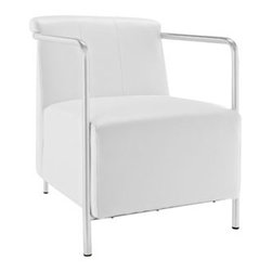 "LexMod - Ebb Vinyl Lounge Chair in White - Ebb Vinyl Lounge Chair in White - Gradually ease into your living space with the Ebb lounge chair. Ebbs design flows a calming effect over your room as you sink into the plush vinyl seat and back. Ebbs stainless steel round tube arms develop the perfect enclosure to the progressive organic design. Ebb is perfect for contemporary homes and other settings on the move. Set Includes: One - Ebb Vinyl Lounge Chair Contemporary lounge chair, Stainless steel tube arms, Padded vinyl seat and back, Black plastic foot caps, Comes fully assembled Overall Product Dimensions: 31""L x 24""W x 28.5""H Seat Dimensions: 19""L x 22.5""W x 17.5""HBACKrest Dimensions: 8""L x 13.5""H Cushion Thickness: 13""H - Mid Century Modern Furniture."