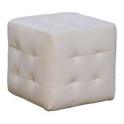 Diamond Sofa - Diamond Sofa Zen Leather Tufted Cube Accent Ottoman in White - The Zen Cube White Tufted Ottoman by Diamond sofa is a functional accent that completes the look of any room. This small ottoman provides convenient, mobile additional seating while complimenting the look of the room. finished in a tufted bonded leather with espresso wood feet, it provides the perfect accent to your decor. Wrapped in poly-dacron for long-term durability, this piece will provide years of use and enjoyment.