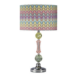 Ashley - Signature Design by Ashley 1-light Rainbow Acrylic/ Metal Table Lamp - Give your home a playful splash of pastel colors with this fun table lamp. Perfect for any child's bedroom or playroom,this whimsical lamp features a yellow,pink and green chrome base with a bright drum-shaped patterned shade.