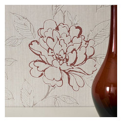 Graham & Brown - Bloom Wallpaper - This romantic trail was inspired by beautiful vintage illustrations. With a gloss effect this wallpaper shimmers and brightens up any room. The red trim in this particular design is vibrant and rich. The design is printed on Heavy Weight Vinyl paper which is embossed making it easy to use and increases the durability of the paper.