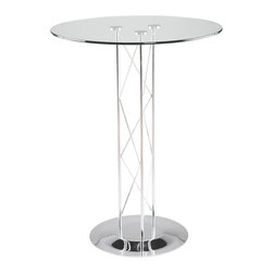 """Eurø Style - Trave Bar Table with Glass Top and Chrome Base - Transform the look of your bar or pub area with sleek and modern design of the Trave Bar Table with Glass Top and Chrome Base. This modern table will create a stunning atmosphere and makes every meal special with its design. This price is for Table with 32"""" Glass Top."""