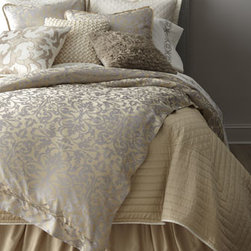 Lili Alessandra - Lili Alessandra Queen/King Dust Skirt - Although these champagne and silver bed linens feel as if they're made of silk charmeuse, they're machine washable. Imported by Lili Alessandra. Jacquard duvet covers and matching standard and king shams are tencel and silk. All others are polyester....