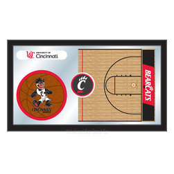 """Holland Bar Stool - Holland Bar Stool Cincinnati Basketball Mirror - Cincinnati Basketball Mirror belongs to College Collection by Holland Bar Stool The perfect way to show your school pride, our basketball Mirror displays your school's symbols with a style that fits any setting.  With it's simple but elegant design, colors burst through the 1/8"""" thick glass and are highlighted by the mirrored accents.  Framed with a black, 1 1/4 wrapped wood frame with saw tooth hangers, this 15""""(H) x 26""""(W) mirror is ideal for your office, garage, or any room of the house.  Whether purchasing as a gift for a recent grad, sports superfan, or for yourself, you can take satisfaction knowing you're buying a mirror that is proudly Made in the USA by Holland Bar Stool Company, Holland, MI.   Mirror (1)"""