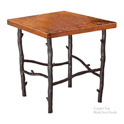 "Mathews & Company - South Fork End Table with 24"" Square Top - Use this simple South Fork end table and add simplistic beauty to your home. This table's four sturdy legs are made from hand wrought iron. This iron can be finished with your choice of finish to match your other furniture. The uncomplicated legs support a square copper table top that is both useful and beautifully creative. This copper table is both practical, as it cannot be stained by a spilled drink, and lovely, as the colors blend artistically together. Pictured in Copper top and Black finish."