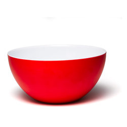 Q Squared NYC - Madison Bloom 10-Inch Round Bowl, Red/White - For soup, cereal, pasta, you name it, this bright bowl is the way to go. Made of highest quality melamine, it's lightweight and easy care, ideal for brightening up your everyday meals.