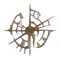 Uttermost - Gallatin 43 in. Wall Clock Multicolor - 06652 - Shop for Clocks from Hayneedle.com! The Gallatin 43 in. Wall Clock is unlike any clock you've ever seen with its modern artistic interpretation. The Gallatin clock evokes a sense of a shipwreck with its plated oxidized copper finish. The clock is hand-forged from metal and also features a rust gray wash. Dimensions: 43 diam. x 1D inches.About UttermostThe mission of the Uttermost Company is simple: to make great home accessories at reasonable prices. This has been their objective since founding their family-owned business over 30 years ago. Uttermost manufactures mirrors art metal wall art lamps accessories clocks and lighting fixtures in its Rocky Mount Virginia factories. They provide quality furnishings throughout the world from their state-of-the-art distribution center located on the West Coast of the United States.