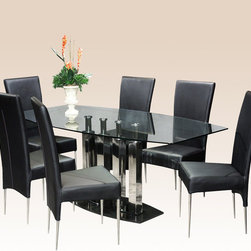 "Chintaly Imports - 5 Piece Cilla Dining Table Set - Features: Set Includes Table and Four Side Chairs; Stainless Steel; Cilla Collection; Black Marble Base; Sturdy, slender and Comfortable; Black PVC Leatherette Seat & Back; 40"" x 71"" Bow Shape Glass; Tempered Glass For Safety; Assembly Required; Dimensions: Table: 40""W x 71""D x 30""H; Chair: 17.5""W x 23.4""D x 36.4""H"