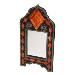 """22"""" Moroccan Inlaid Henna Bone Mirror - This distinctive handcrafted mirror features carved henna-dyed bone inlays. Measures approximately 22"""" x 11.75""""."""