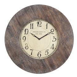 """COOPER CLASSICS - Williston 29"""" Wall Clock - Rustic White Wash Finish."""