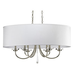 Progress Lighting - Progress Lighting P4431-104 6-Light Oval Chandelier with Off-White Silk Shade - Progress Lighting P4431-104 6-Light Oval Chandelier with Off-White Silk Shade Glass Disc Bobeches