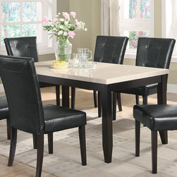 Coaster - Anisa Collection Dining Table in Cappuccino - Casual styled dining room group features a beautiful high gloss finish faux marble top in a cream color. Square block legs with tapered ends, matching chairs are in a black leather-like vinyl and finished in dark cappuccino.