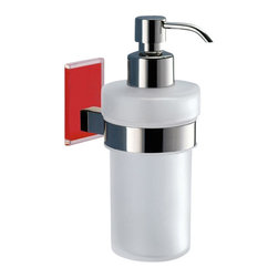 Gedy - Frosted Glass Soap Dispenser With Red Mounting - Modern, contemporary style wall mounted hand soap dispenser.