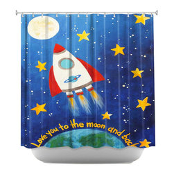 DiaNoche Designs - Love You to the Moon Rocket Shower Curtain - Sewn reinforced holes for shower curtain rings. Shower curtain rings not included. Dye Sublimation printing adheres the ink to the material for long life and durability. Machine washable. Made in USA.