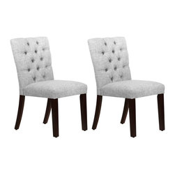 Skyline Furniture - Skyline Tufted Mor Dining Chair - Set of 2 - 68-6ESPZMPMCSET2 - Shop for Dining Chairs from Hayneedle.com! Add a little class around the table with the Skyline Tufted Mor Dining Chair - Set of 2. This stylish chair is covered with polyester/linen blend upholstery available in your choice of color and features a stunning diamond tufted pattern on the seat back. The plush foam padding on the seat and back provide optimal comfort while the sturdy solid pine frame and legs back this a durable addition to your dining room. This elegant chair is handmade in the USA and requires some easy assembly. About Skyline Furniture Manufacturing Inc.Skyline Furniture was founded in 1948 with the goal of producing stylish affordable quality furniture for the home. After more than 50 years this family-run business is still designing and manufacturing unique products that meet the ever-changing demands of the modern home furnishing industry. Located in the south suburbs of Chicago the company produces a wide variety of innovative products for the home including chairs headboards benches and coffee tables.