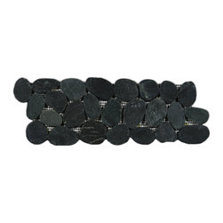 """Pebble Tile Shop - Sliced Charcoal Black Pebble Tile Border - Each pebble is carefully selected and hand-sorted according to color, size and shape in order to ensure the highest quality pebble tile available. The stones are attached to a sturdy mesh backing using non-toxic, environmentally safe glue. Because of the unique pattern in which our tile is created they fit together seamlessly when installed so you cant tell where one tile ends and the next begins!   Usage:     Suitable for interior and exterior use, walls, floors, showers, backsplashes and pools.   Details:   Stone size: Approx. 3/4\ to 2-1/2\""""    Thickness: Approx. 1/2\""""    Dimensions per sheet: 4\"""" High by 12\"""" Wide    Mounting: Mesh-backed"""""""