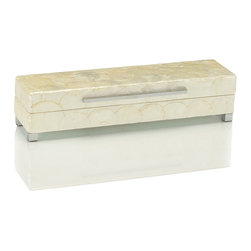 Short White Capiz Shell Box - The scale overlapping disks of round capiz shell are a classic look akin to mother-of-pearl, providing the look of a paper-thin mosaic and a sweetly dancing shimmer to articles adorned with this ivory-hued natural material. This Short version of the White Capiz Shell Box combines that traditional look with the transitionally stark lines of small brushed nickel feet and a narrow bar for use in lifting the rectangular lid.