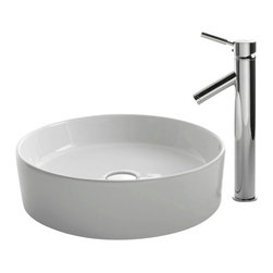 Kraus - Kraus C-KCV-140-1002CH White Round Ceramic Sink and Sheven Faucet - Add a touch of elegance to your bathroom with a ceramic sink combo from Kraus