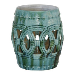 Belle & June - Small Rope Garden Stool - Turquoise - You've planted your garden, laid the stone path, arranged the outdoor furniture but there is still  something missing. That something is a garden stool! This one is stunning: Asian-influenced, turquoise with a classic rope detail. Not only will it beautify your outdoor oasis, it will also add that extra seating for party guests.