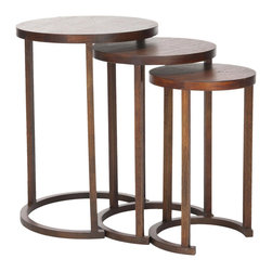 Circular Stacking Tables - We love a good set of stacking tables. Perfect for entertaining, these round tables rest neatly within each other. With beautiful round tops and semicircular bases, not only do they provide extra tabletops when you need them, they also look beautiful stacked together. Made of sustainable bayur wood, these come in a light brown finish.