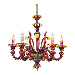 Royal Crystal Lighting - Royal Crystal Lighting Murano Glass Chandelier 6 Lights - Transistion Style of Murano glass lighting. Unique design and color.