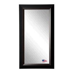 Rayne Mirrors - American Made Brown Linning Full Length Mirror - This fabulous natural grain wood and clean black design will add personality and dimension to any room. Offer a stylish upgrade to your wall space with this stunning tall body mirror.  Rayne's American Made standard of quality includes; metal reinforced frame corner  support, both vertical and horizontal hanging hardware installed and a manufacturers warranty.