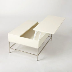 Lacquer Storage Coffee Table - I am loving this stylish and glam lacquered coffee table that opens up for extra storage.