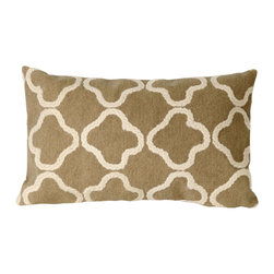 """Trans-Ocean - Crochet Tile Camel Pillow - 12""""X20"""" - The highly detailed painterly effect is achieved by Liora Mannes patented Lamontage process which combines hand crafted art with cutting edge technology.These pillows are made with 100% polyester microfiber for an extra soft hand, and a 100% Polyester Insert.Liora Manne's pillows are suitable for Indoors or Outdoors, are antimicrobial, have a removable cover with a zipper closure for easy-care, and are handwashable."""