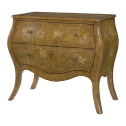 Hammary - Hammary Hidden Treasures Drawer Chest - The Hidden Treasures garden drawer chest by Hammary is made in the popular bombe style with a lightly weathered, cross-hatched finish detail. The garden motif adorning this chest gives it its character an feminine appeal.