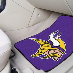 Fanmats - Fanmats Minnesota Vikings 2-piece Carpeted Nylon Car Mats - All fans of the Minnoesta Vikings should take a look at this sporty car mat set, imprinted with the Vikings' very own club crest. Officially licensed by the team, these car mats are built from durable nylon for increased longevity and protection.