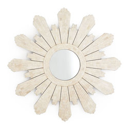 Modern Padrone Sunburst Mirror - We have taken the classic Padrone-style sunburst and updated it with art-deco shapes and a glossy white finish. The texture in the bone looks elegant, and the unique edges will definitely stand out against a contrasting wall color!