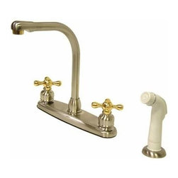Kingston Brass - High Arch Kitchen Faucet With White Sprayer - For those who appreciate the antique look, the Victorian collection combines sophistication with old-style beauty. This kitchen faucet features an 8in. centerset platform with a high arch spout that rotates 360 degrees for accessibility and convenience. The body of the faucet is constructed in solid brass for durability and long-lasting usage. With a variety of finishes that are provided, the faucet will be resistant from tarnishes or scratches. The handle levers feature a 1/4-turn on/off mechanism for controlling water volume and temperature. The faucet operates with a washerless cartridge for drip-free functionality and has a 2.2 GPM (8.3 LPM) 60 PSI maximum rate. An integrated removable aerator is fitted beneath the spout's head piece for conserving water flow. A 10-year limited warranty is provided to the original customer. White sprayer included.