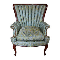 1940's Sam Moore Chair - Soul and Love Designs.  1940s channel-back wing chair by Sam Moore. Reupholstered and refurbished in luscious silk with brass nailhead trim. Original wood frame, cushion, and springs.