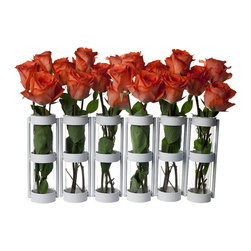 "Danya B. - Tube Hinged Vases, White, Set of 6 - This hinged vase with six 8"" glass vials on a metal stand is easy to arrange with just a few flowers. Hinges allow you to set vase different ways for a playful accent. Set a few together for an elongated effect, or wrap it around a patio umbrella for an original centerpiece. With this unique and simple design anyone can crate beautiful arrangements to go on a round or rectangular table in minutes without proper floral training!"