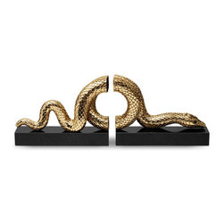 L'Objet - 24K Gold Plated Snake Bookends, Gold - Bookend set 24K Gold plated.  Dust or wipe with damp cloth.