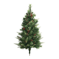 Frontgate - Set of Two White Pine Cordless Pathway Outdoor Christmas Trees Christmas Decor - Boughs and berries perfectly mimic nature. Superbright, 5mm LED bulbs are energy efficient and long lasting. Convenient 6-hour timer. Optional manual switch located on the weatherproof battery box. To maximize fullness, greenery will need to be shaped. Wispy cedar and Douglas fir branches and berries, along with pinecones and bright LED lights make our Winter Pine Cordless wreaths and garland truly shine. This lush greenery can be easily programmed to glow at the same time, every day of the week.  .  .  .  . . Operates on D batteries (not included) .
