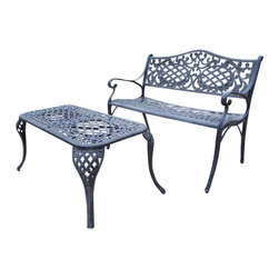 Oakland Living - Oakland Living Mississippi 2-Piece Settee and Cocktail Table Set in Verdi Gray - Oakland Living - Outdoor Benches - 210720072VGY - About This Product:
