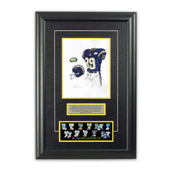 """Heritage Sports Art - Original art of the NFL 2000 San Diego Chargers uniform - This beautifully framed piece features an original piece of watercolor artwork glass-framed in an attractive two inch wide black resin frame with a double mat. The outer dimensions of the framed piece are approximately 17"""" wide x 24.5"""" high, although the exact size will vary according to the size of the original piece of art. At the core of the framed piece is the actual piece of original artwork as painted by the artist on textured 100% rag, water-marked watercolor paper. In many cases the original artwork has handwritten notes in pencil from the artist. Simply put, this is beautiful, one-of-a-kind artwork. The outer mat is a rich textured black acid-free mat with a decorative inset white v-groove, while the inner mat is a complimentary colored acid-free mat reflecting one of the team's primary colors. The image of this framed piece shows the mat color that we use (Yellow). Beneath the artwork is a silver plate with black text describing the original artwork. The text for this piece will read: This original, one-of-a-kind watercolor painting of the 2000 San Diego Chargers uniform is the original artwork that was used in the creation of this San Diego Chargers uniform evolution print and tens of thousands of other San Diego Chargers products that have been sold across North America. This original piece of art was painted by artist Nola McConnan for Maple Leaf Productions Ltd. Beneath the silver plate is a 3"""" x 9"""" reproduction of a well known, best-selling print that celebrates the history of the team. The print beautifully illustrates the chronological evolution of the team's uniform and shows you how the original art was used in the creation of this print. If you look closely, you will see that the print features the actual artwork being offered for sale. The piece is framed with an extremely high quality framing glass. We have used this glass style for many years with excellent results"""
