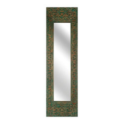 Antiqued Turquoise Wood Carved Rectangle Mirror - *With a global pattern, the Sanura mirror features an antiqued turquoise finish over carved wood. Looks great in narrow spaces!