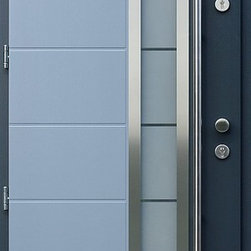 Modern Front Entry Door - Stainless steel modern entry door with glass.