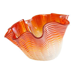 Cyan Design - Cyan Design Teacup Party Contemporary Decorative Bowl - Large X-60160 - Rich, fiery orange tones fade into a nearly translucent hue at the base of this beautifully ruffled Cyan Design large decorative bowl. From the Teacup Party Collection, this contemporary bowl also features white stripe detailing, which wraps around the entire body.