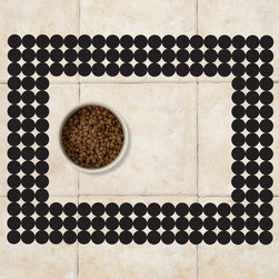 Sniff It Out Designer Pet Mats - Polka-dot Pet Food Mat, Black - Premium-quality clear vinyl mats uniquely designed to resemble beautiful art painted directly onto your floor. The smoothness of the vinyl allows for easy cleanup and lays perfectly flat. Sniff It Out Pet Mats make great gifts and will be a conversation piece that your friends and family won't stop talking about. Made in the USA.