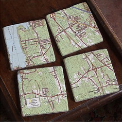 ''My Town'' TOPO! Map Coasters, Set of 4 - This is such a cool idea. Give them any US address and they will create a cork-backed, four-tile marble coaster set that reproduces a map of the location. It would make the best housewarming gift.